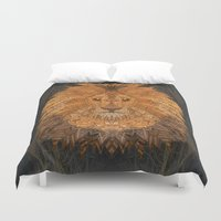 the lion king Duvet Covers featuring King Lion by ArtLovePassion