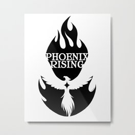 PHOENIX RISING black with flames and star center Metal Print