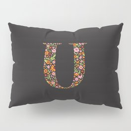 Retro Floral Letter U Pillow Sham