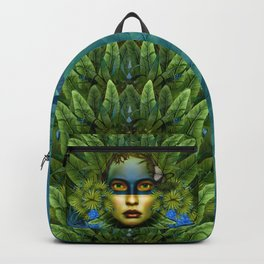 """Tropical green and indigo jungle Woman"" Backpack"