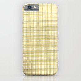 Fine Weave Retro Modern Mid-Century Pattern in Mustard Yellow and White iPhone Case