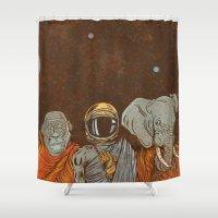 spiritual Shower Curtains featuring Spiritual Animals by Thomcat23