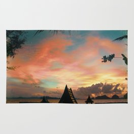 Red Ocean Sunset Rug