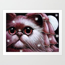 FANTASY PINK PERSIAN ANGEL CAT - 1ST SNOW Art Print