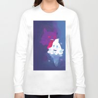 gengar Long Sleeve T-shirts featuring Gengar eating ice cream by Alvaro Núñez