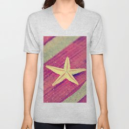 Stars and Stripes on the beach Unisex V-Neck