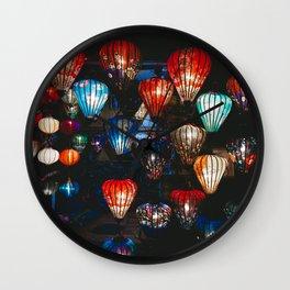 Lanterns in the Night Market, Hoi An, Vietnam Wall Clock