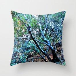 """Hillside Trees at Dusk"" Throw Pillow"