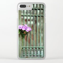 Door With Flowers Clear iPhone Case