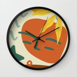 Orange Green And Yellow Portrait Abstract Face, Leaf And Star. Wall Clock