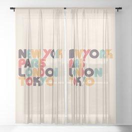 Retro New York Paris London Tokyo Typography Sheer Curtain