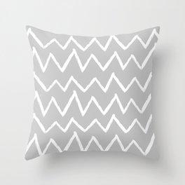 Hand-Drawn Zig Zag (White & Gray Pattern) Throw Pillow