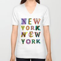 new york V-neck T-shirts featuring New York New York by Fimbis