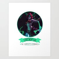 league of legends Art Prints featuring League Of Legends - Cassiopeia by TheDrawingDuo