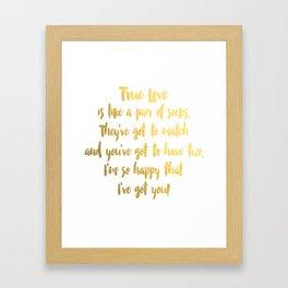 True Love. Gold Foil and White. Framed Art Print
