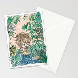 Tropical Coral Jungle Room with Sleeping Cat Stationery Cards