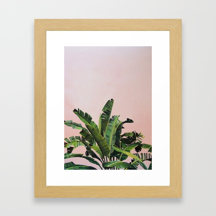 Tropical Palm leaves on pink Framed Art Print
