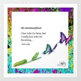 The Metamorphosis - Caterpillar becoming Butterfly Art Print