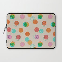 Smiley Face Stamp Print Laptop Sleeve