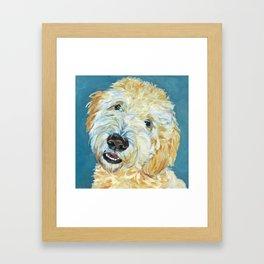 Stanley the Goldendoodle Dog Portrait Framed Art Print