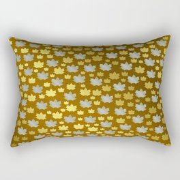 gold, silver, metal shiny maple leaf on shimmering texture Rectangular Pillow