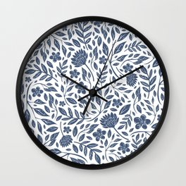 Delft Blue Botanical Florals Wall Clock