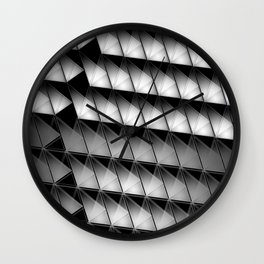 3D triangles in soft black and white gradient Wall Clock
