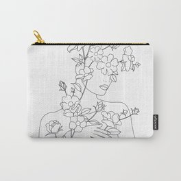 Minimal Line Art Woman with Wild Roses Carry-All Pouch