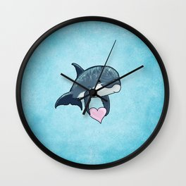 Love Ya! ~ Baby Dolphin by Amber Marine ~ Blue ~ (Copyright 2014) Wall Clock
