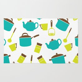 Kitchen Utensils, Cookware, Cutlery - Blue Green Rug