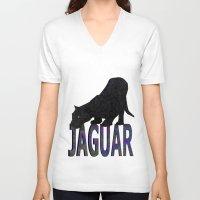 jaguar V-neck T-shirts featuring Jaguar by Ben Geiger