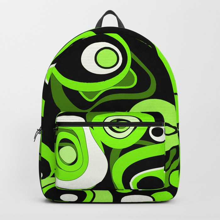 Abstract pattern black and green background . Backpack