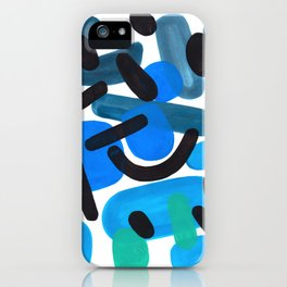 Abstract Minimalist Mid Century Modern Colorful Pop Art Retro Funky Shapes Blue Turquoise iPhone Case