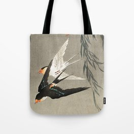 Red tailed swallows in flight - Japanese vintage woodblock print art Tote Bag