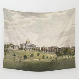 Vintage Illustration of The Boston Commons (1829) Wall Tapestry
