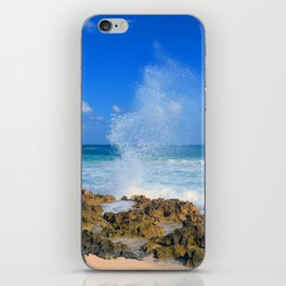 Cozumel teal water ocean crash wave water spout iPhone Skin