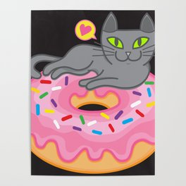 My cat loves donuts 2 Poster