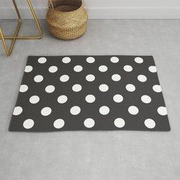 XX Large White on Dark Grey Polka Dots Rug