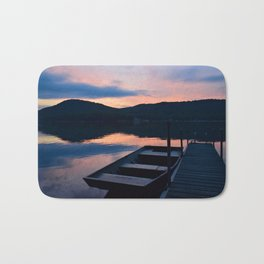 Pretty Adirondack Dawn: Jon Boat and Old Dock Bath Mat