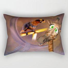 Funny cute giraffe with parrot Rectangular Pillow