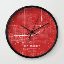 Des Moines Map, USA - Red Wall Clock