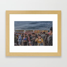 Eating Noodles at Night Market Framed Art Print