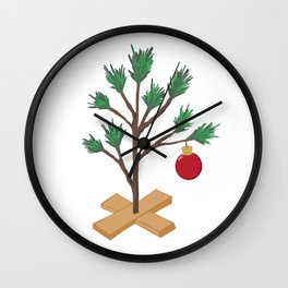 Alone at Christmas - Christmas Tree Wall Clock