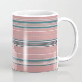 Blush Pink Teal Stripe Design Coffee Mug