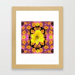 TROPICAL YELLOW & GOLD AMARYLLIS FLOWERS PATTERN ON Framed Art Print