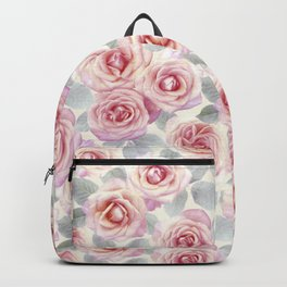 Mauve and Cream Painted Roses Backpack