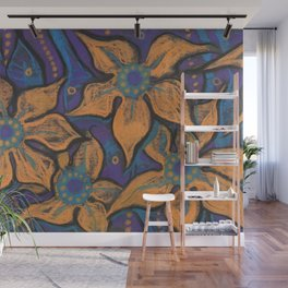 Golden flowers, decorative painting, pastel, floral motive Wall Mural