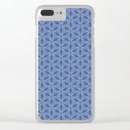 Original Handmade Pattern - Blue Tropical Leaves Clear iPhone Case