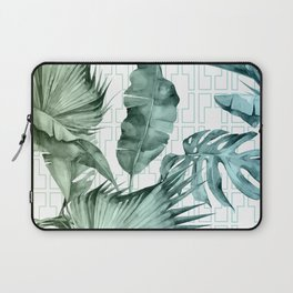 Mod Tropical Palm Leaves in Turquoise Green Blue Gradient Laptop Sleeve