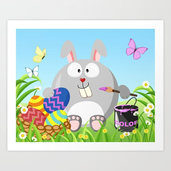 Easter bunny in April month series Art Print